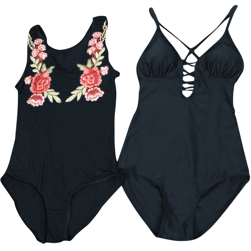 Yingfa 2018 New Women Print One-piece Thin Cover Belly Embroidered Semi Transparent Gauze Two Piece Swimsuit Sexy Hot Springs <br>