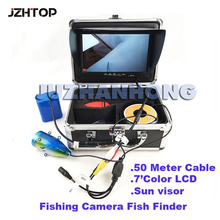 50 Meter Underwater Fishing Video Camera LED Lights 7inch Color Monitor Fish Finder Waterproof CCTV Camera Inspection(China)