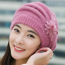 fashion Women Spring Winter Hats Beanies flower Knitted Cap Crochet Hat Ear Protect Casual Cap Chapeu Feminino chrismas gift #4