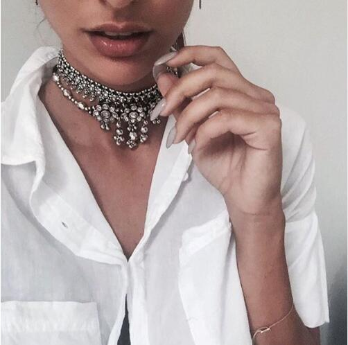 Fashion Hand Made Ethnic Metal Choker Necklace Bib Collares Pendants necklaces Boho Statement Jewelry Women Accessories
