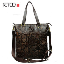 AETOO Leather handbags wholesale women's retro stitching shoulder Messenger bag leather embossed tide package
