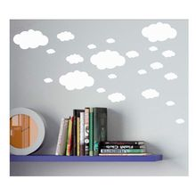 Mini Clouds wall sticker , vinyl cloud wall art nursery kids child room , set 18 Clouds Household decoration sticker(China)