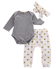 3pcs Newborn Infant Baby Girls Clothes Set Long Sleeve Gray Bodysuit Tops+Heart Pants Leggings Headband Outfit Set(China)
