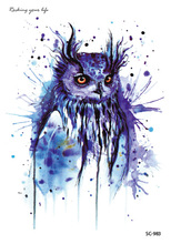 Latest 2016 Large Taty Uncanny Halloween Easter Blue Owl Cats Body Art Temporary Tattoo Stickers Waterproof Big Tatoos tatouage