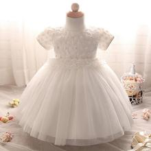 Brand Infant Snow White Baby Girl Dress Princess White Puffy Tutu Lace Wedding Gown Dress For Baby Girls Baptism Clothes
