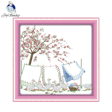 Joy Sunday Drying the quilts Chinese Cross Stitch kit for Embroidery Needlework Sets Cross Stitch Pattern(China)