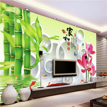 beibehang Lotus bamboo photo wallpaper for walls 3 d Large wall painting background for living room 3d mural wall paper flooring