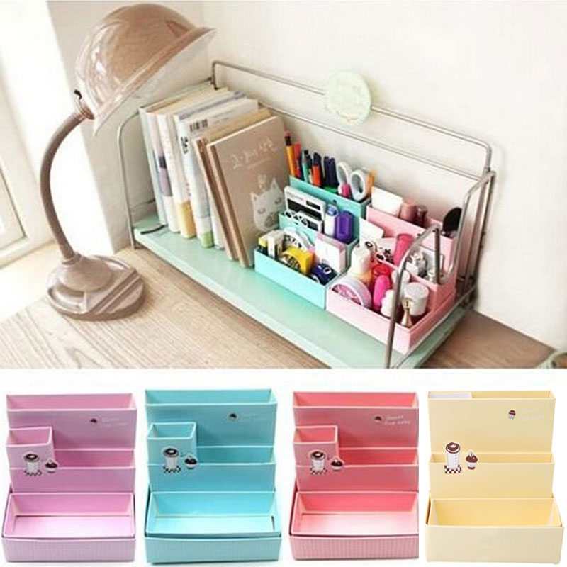 2016 DIY Paper Board Storage Box Desk Stationery Makeup Cosmetic Organizer Holder Stand School Office Desktop Accessories New(China)