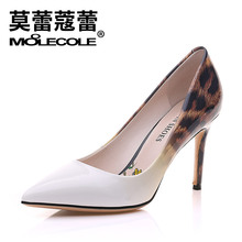 Free shipping ! size 35-39 / heel 8.8 cm / MOOLECOLE fashion women's pumps / leopard print / gradient color / brown , grey(China)
