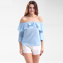 Women Fashion Blue Flare Sleeve Blouse Ladies Elegant Tops Clothing Shirts Tops Female Clothes Blouses Shirt