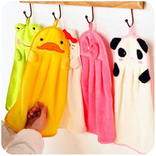 Cartoon Hand Towel Soft Plush Fabric Animal Hanging Wipe Nursery Bathing Towel 301-0485