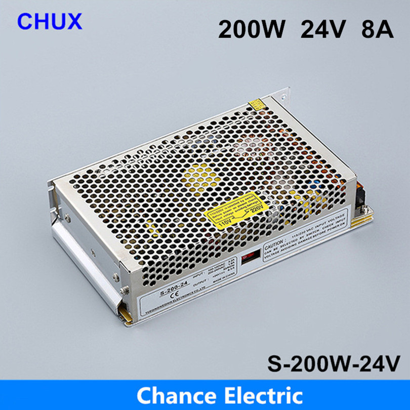 DC LED Switching mode Power Supply Single Output adjustable power supply 200w (S-200W-24V) free shipping 24v<br>