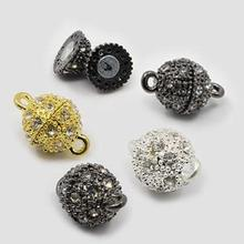 50 sets Oval Alloy Rhinestone Magnetic Clasps Jewelry Findings Silver Golden Black 16x10mm , Hole: 1.5mm