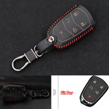 10Pcs Leather Car Smart Key Remote Keychain Ring Holder Cover Shell Case Bag 5 Buttons For Cadillac ATS-L CTS SLS SRX New XTS