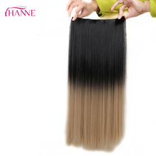 Black To Blond Ombre Straight Heat Resistant Synthetic Fiber Black to Honey Blonde Ombre Color Long Weave Clip In Hair Extension(China)
