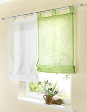 Hand Made Popular Solid Color Sheer Looped Voile Balcony Kitchen Window Roman Curtain 1PCS