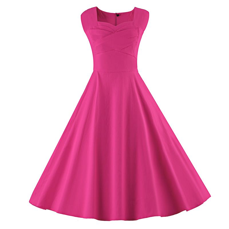 Kostlich 6 Color Retro Summer Dress Women 2017 Sleeveless Hepburn 50s Vintage Dress Elegant Big Swing Rockabilly Party Dresses (15)