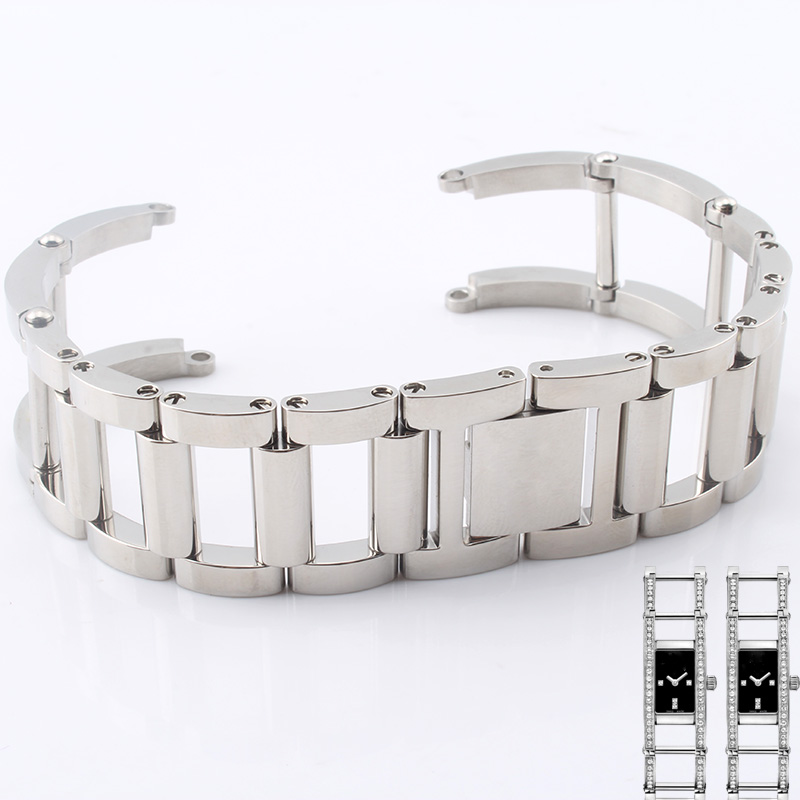 High quality stainless steel strap for Indira series silver female watch 1186075 jewelry buttoned hollow bracelet<br>