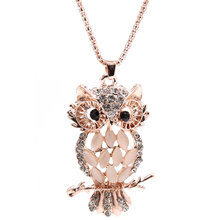Women Lady Stylish Sparkling Owl Crystal Charming Silky Necklaces Pendants #Y51#(China)