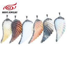 Charming Shell Pendant Exclusive Hot Sale Angel Wing Shape Natural Shell With Zircon Paved Pendant Druzy Pendant Charm