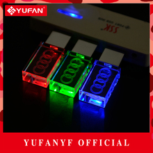 YUFANYF 2017 pendrive 3 colors Red / blue / green LED Audi car LOGO USB falsh drive 4GB 8GB 16GB 32GB U Disk crystal gift
