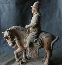 "Details about 13"" Chinese Tang San Cai Pottery Dynasty Warrior Hun Ride Horse Statue(China)"