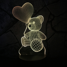 2017 Baby Teddy Bear Hold Love Heart Balloon 3D USB LED Lamp Table Night Light Home Room Decor Kids Toy Girlfriends Gift Beside(China)