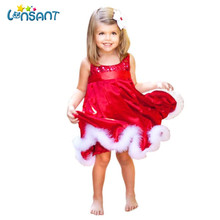 LONSANT 2017 Baby Girls Kids Christmas Party Red Dresses Funny Vestidos Cotton Sleeveless Roupas Infantis Menina Dropshipping