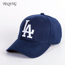 TEENS 2017 New Casual Baseball Cap Solid Color Letters LA Embroidery Caps Cotton Black/Navy Neutral Hip Hop Hat Y-25