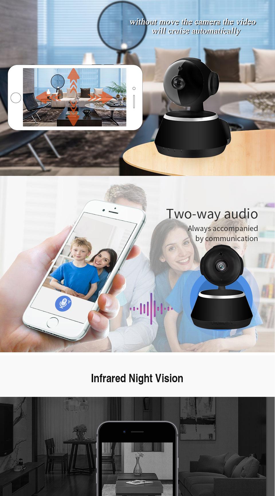 IP Camera Wifi 1080P Security Camera 720P Mini IP Camera Home CCTV Cameras P2P Two Way Audio Motion Detection IR-CUT  (9)