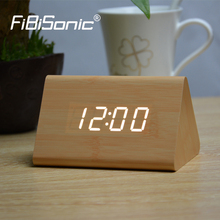 FiBiSonic New Triangle Red Led Alarm clocks,Wood clock ,sounds control Table Clock,Big numbers Digital Clocks