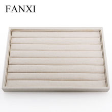 FANXI Free shipping custom light wood jewellery packing case with8 rows beige linen ring shop display trays(China)