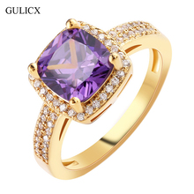 GULICX Fashion Size 8 Ladies Finger Band Gold-color Ring for Women Princess Crystal Yellow CZ Zircon Engagement Jewelry R346
