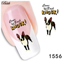 Bittb 2pcs Corgi Dog Photo Nail Art Sticker Water Transfer Nail Decal Tips Decoration Fingernail Nail Tool Beauty Nail Stickers(China)