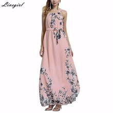 Buy Sexy Summer Bohemia Dress Halter Neck Floral Print Sleeveless Chiffon Long Maxi Boho Beach Dress Vestidos Plus Size
