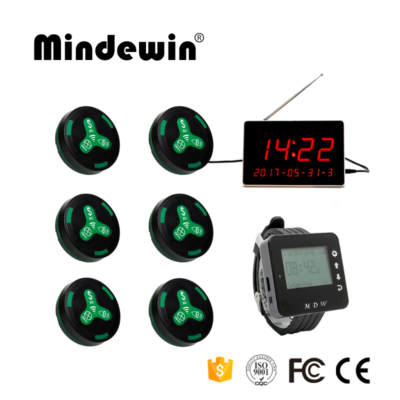 Mindewin Hot Sale Restaurant Or Cafe Shop Waiter Calling System 1PC Watch Receiver,1PC LED Display And 10PCS Waiter Call Button(China)