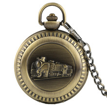 Retro Pocket Watch FOB Full Hunter Bronze Train Locomotive Engine Chain Unisex Pendant Stylish Quartz New Arrival Birthday Gift