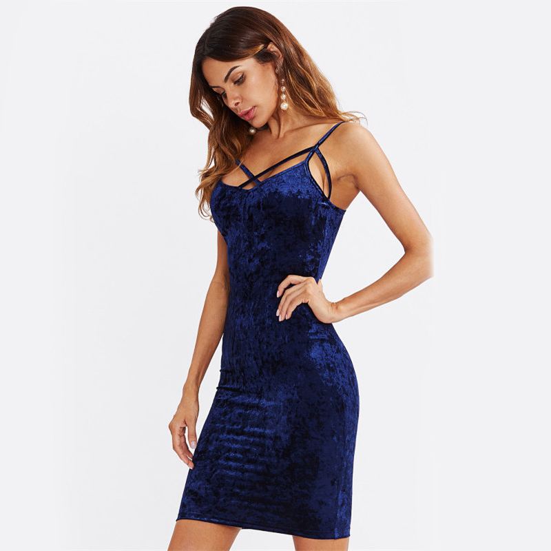 COLROVIE Strappy Cross Club Velvet Dress 2017 Women Royal Blue Fitting Bodycon Slip Summer Dresses Sexy Slim Elegant Midi Dress 7