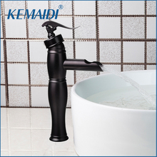 KEMAIDI New Arrival Wholesale&Retail Bathroom Faucet Deck Mounted Bamboo Shape Basin Sink Faucet ORB Black Bathroom Mixer Tap(China)