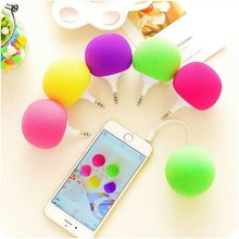 10pcs/lot Portable Colorful 3.5mm Wired Mini Speaker Aux Audio Plug Jack Music Sponge Ball Speaker for Mobile Phone Tablet PC