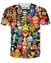 Arcade Collage T-Shirt Pikachu Kirby Mario Chocobo arcade style Cartoon Character t shirt Women/Men Summer Style tops tee