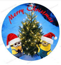 "Edible Paper For Cake Topper,8"" Christmas Minions Wafer Edible Transfer Paper,Christmas Edible Cake Decorating Supplier(China)"