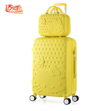 "Hello Kitty children's suitcases luggage sets 20""22""24""26""28"" inch with 14"" make up case,kids suitcase, girls waterproof spinner(China)"