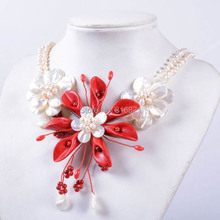 "(1 piece/lot) New Handmade Wired Red Coral Mother of Pearl Necklace MOP Shell Pearl Flower Pendant Beaded Necklace 20""(China)"