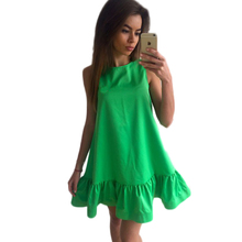 Buy 2017 Solid Casual Loose Ruffles line Summer Dress Woman O-neck Sleeveless Beach Style Dress Mini Party Dress Plus Size for $4.99 in AliExpress store