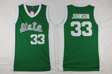 SexeMara Magic Earvin Johnson #33 Michigan State Green/White Stitched Basketball Jersey Sewn Camisa Embroidery Logo drop ship