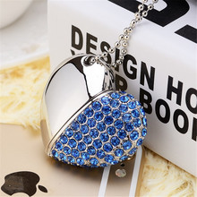 Free shipping crystal heart shaped stainless secure usb flash drive wedding special gift for lover
