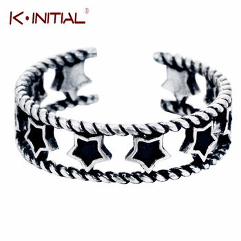 Kinitial Tiny Star Ring 925 Sterling Silver Double Line Twist Pentagram Ring For Women Simple Wedding Rings Jewelry Anillos