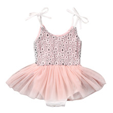 Pink Tutu Dress Princess Girls Mesh Pleated Mini Dress Clothes Baby Girls Party  Dress