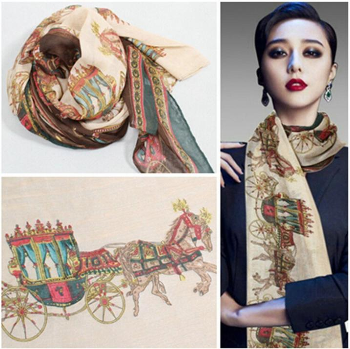 NEW Stylish Girl Long Soft voile Scarf Wrap Stripe vintage printing Shawl Scarve For Women Hot Sale(China (Mainland))
